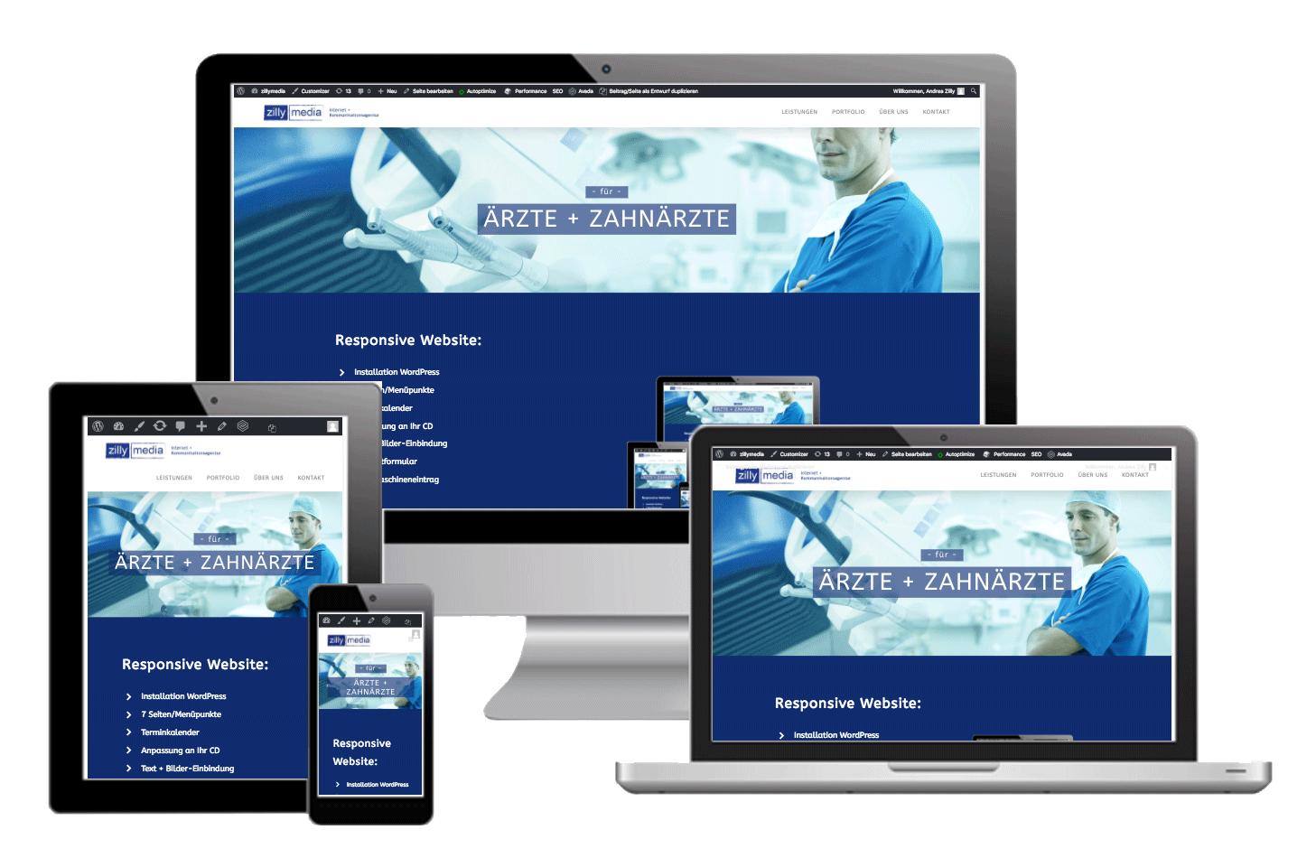 Webseite für Ärzte und Zahnärzte von zillymedia